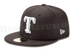 New Era 5950 TEXAS RANGERS  Black White Cap MLB Baseball 5950 Fitted Hat TX