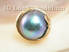 AAA 19mm real South Sea black Mabe Pearl Ring 14KT gold j3783