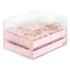 PINK Jewellery Box Dividers 3 Drawers Bracelet WATCH Ring Storage Case Organizer