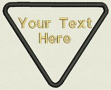 "Custom Triangle Patch  3.80"" x 3.25""- Add text - Iron On, or Sew On"
