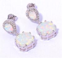 Women 925 Silver Pear White Topaz Ear Clip Opal Hoop Dangle Earrings Wedding