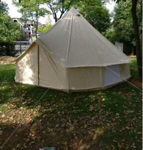 Intbuying Canvas Bell Tent with Front Awning Outdoor Camping 6M Sporting Goods