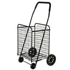 Folding Shopping Cart Black Hand Truck Grocery Laundry Travel w/Swivel Wheels