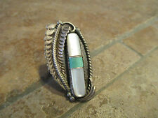 """OLD Zuni Sterling Silver Mother of Pearl Leaf Ring    Size 6     1 7/8"""""""