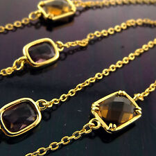 A897 GENUINE REAL 18CT YELLOW G/F GOLD LADIES GARNET AMETHYST NECKLACE CHAIN