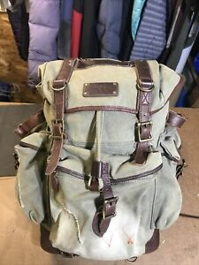 ✰ Vintage L.L. BEAN WAXED CANVAS & LEATHER Continental RUCKSACK BACKPACK CLASSIC
