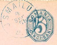 "RUMÄNIEN 1878, ""JSMAILU"" blauer K1 a. 5 B. blau GA, ABART: äußere Rand gebrochen"