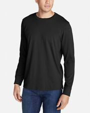 Eddie Bauer Mens T-Shirt Black Size 2XL Long Sleeve Solid Stretch Tee $30- #892