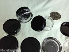 12 Cosmetic Jars Empty Plastic Sample Beauty Containers Black Cap 3 ml 3 Gram .