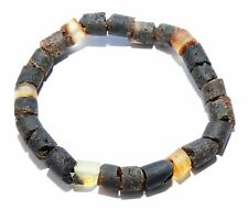 Genuine Raw Baltic Amber Adult Bracelet for Men Mixed Color Stretch