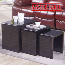 High Gloss Black Nest of 3 Tables Glass Top Nesting Coffee Table Living Room