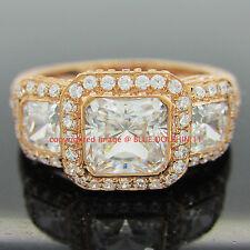 Genuine Solid 9k Rose Gold Engagement Wedding Trilogy Eternity Ring Lab Diamonds