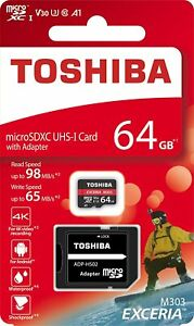 Toshiba M303 Memory Card 64GB microSDXC, 98 MB/s, Adapter Included