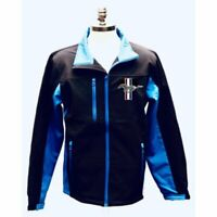 FORD MUSTANG CUSTOM BLACK AND BLUE POLYESTER MENS' SOFT SHELL JACKET LIC BY FORD