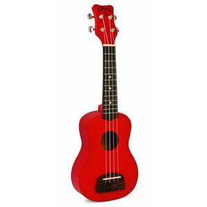 Kohala KT-SRD Soprano Tiki Linden Wood 12-Fret Uke Ukulele Really Red