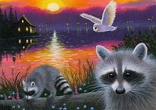 Raccoon barn owl cabin lake sunset summer landscape OE aceo print art