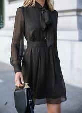 DIANE Von Furstenberg ARABELLA Pinstripe Silk Tie Collar Black Dress DVF 4- S