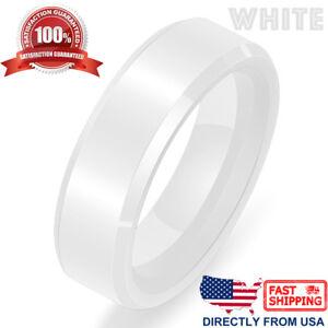 Ceramic Wedding Band Durable Women's Men's Hypoallergenic 6mm Comfort Fit Ring