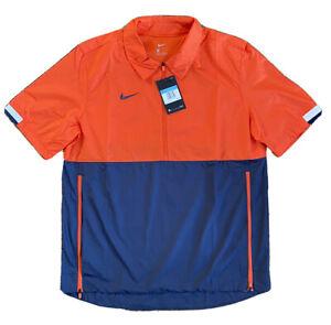 Nike Short Sleeve 1/2 Zip Windbreaker Orange Navy CI4479-892 Mens Sz M Fast Ship