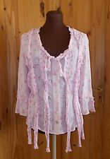 PER UNA dusky pink floral roses chiffon 3/4 sleeve blouse to v neck frill 12 4