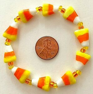 HALLOWEEN/FALL/AUTUMN STRETCH BRACELET-CANDY CORN-LAMPWORK -L-HANDCRAFTED-#800