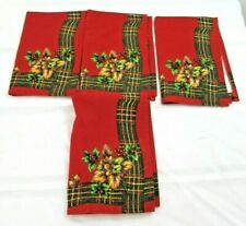 Season Wind Christmas Placemats Red Holly Cotton Lot of 4