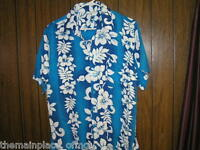 Bali Collection Hawaiian Shirt Large Blue Floral Short Sleeve Hawaii Aloha