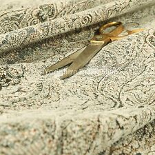 Traditional Oriental Damask Pattern Quality Upholstery Fabric In Beige Green