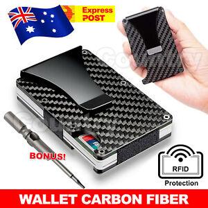 Men Carbon Fiber Credit Card Holder RFID Blocking Slim Wallet Money Clip Purse
