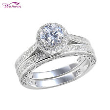 Round Cut White Aaa Cz Size 8 Bridal Wedding Rings Engagement Ring Set For Women