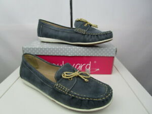 Boulevard Apron fronted saddle casual lace up deck type shoes.Summer Blue UK8