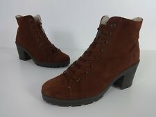 Womens Boots Size 7 Brown Suede Fur Lined Lace Ankle Schuh Brand Ladies EUR 41