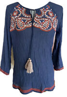 THML Cotton Boho Top Blouse Medium Embroidered Tassel Multilcolor
