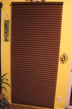 """Bali Blind Cordless 1"""" Pleated Shade Outside Mount 35"""" x 78"""" Patio Door Brown"""