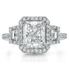 1.93 Ct Radiant Cut 3-Stone Pave setting Halo Diamond Engagement Ring GIA D VS1