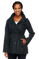 Dennis Basso Water Resistant Floral Lined Anorak Jacket with Hood,Black,XXS, $74