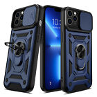 For iPhone 13, 13 Pro Max Ring Stand Case Slide Camera Cover / Screen Protector