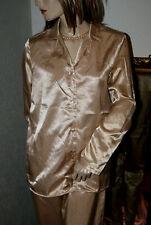 SATIN Glanz Pyjama * Negligee-Anzug  gold PÜNKTCHEN  glatt 36/38