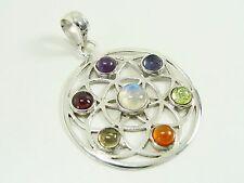 Chakra colgante flor de la vida 925 plata amuleto Silver pendant Argent