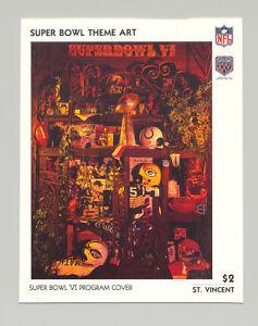 St Vincent #1430 Super Bowl VI Program Cover Art 1v S/S Imperf Chromalin Proof