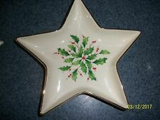 Lenox Holiday Star Candy Dish Dimension Collection Holly Berry Gold Trimmed