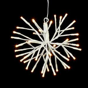 """10"""" WHITE GLITTERED STARBURST 48 WARM WHITE LED LIGHTS Raz CHRISTMAS 3937009 NEW"""
