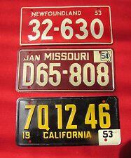 LOT of 3: 1953 1954 Miniature Cereal License Plates Newfoundland Missouri & CA