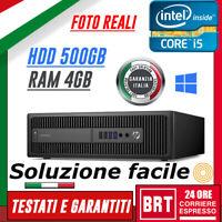 PC DESKTOP COMPUTER FISSO HP ELITEDESK 800 G1 USFF I5-4570 4GB RAM HDD 500GB WIN