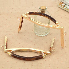 """Trapezoidal  Metal Frame Kiss Clasp for Purse Handle Bag DIY Tools Gold 8"""" Wide"""