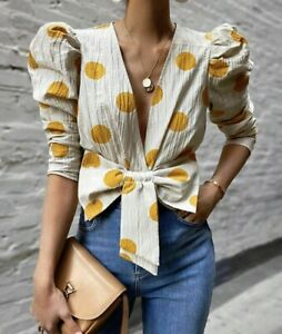 Zara Women Polka Dot Bow Shirt 3564/026