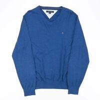 Vintage TOMMY HILFIGER  Blue 00s V-Neck Jumper Mens L