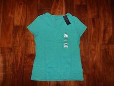 NWT Womens TOMMY HILFIGER V-Neck Atlantis Green Short Sleeve Shirt Sz L Large