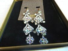 Amrita Singh White Crystal Large Chandelier Clip On Earrings ACE 365