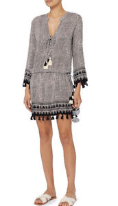 Cool Change Short Chloe Tunic Dress Black White Print L Sleeve Tassel Nwt Size S